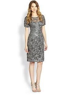 Sue Wong Illusion Top Cocktail Dress   Charcoal