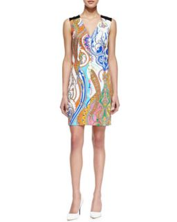 Womens Angeline Paisley Print Sleeveless Dress   Trina Turk