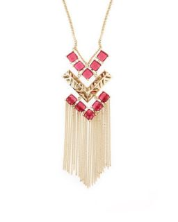 Faye Chevron Pendant Necklace, Pink/Red