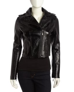 Glossy Faux Leather Moto Jacket, Black