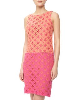 Colorblock Floral Lace Drop Waist Dress, Melon/Hot Pink
