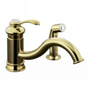 Kohler K 12176 PB Fairfax Single Handle Kitchen Faucet with Side Spray