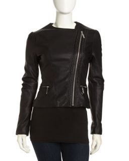 Asymmetric Cropped Faux Leather Moto Jacket, Black