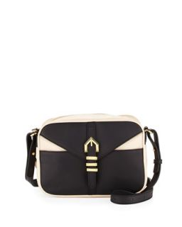 Hayden Colorblocked Leather Crossbody Bag, Black/Nude