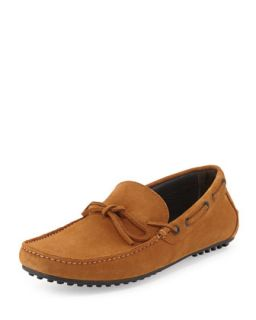Pistillo Bow Slip On Suede Moccasin, Whiskey