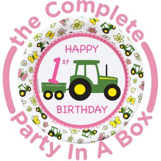 John Deere Pink 1st Birthday Party Packs