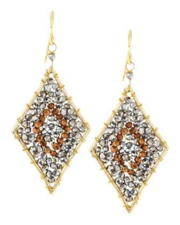 Diamond Shape Crystal Beaded Earrings, Bronze/Gray