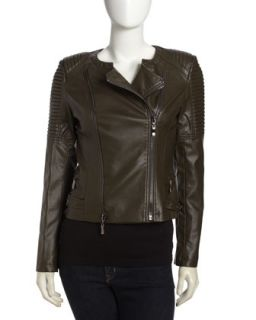 Quilted Faux Leather Moto Jacket, Olive