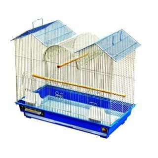 Prevue Pet Products Cockatiel Triple Roof Bird Cage   White/Blue (Medium)