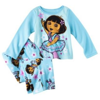 Dora the Explorer Infant Toddler Girls 2 Piece Pajama Set   Blue 4T