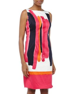 Paintbrush Print Sleeveless Dress