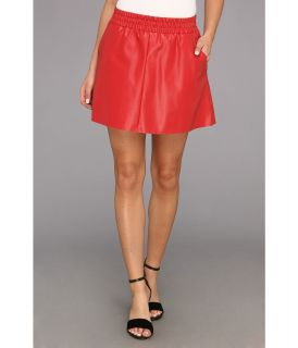 BCBGMAXAZRIA Laika Leather Mini Skirt Womens Skirt (Red)