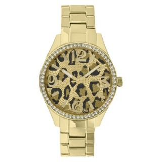 Merona Animal Print Dial Watch,Gold Bracelet with Stones