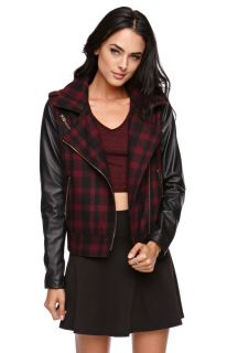 Womens La Hearts Jacket   La Hearts Faux Leather Plaid Moto Jacket